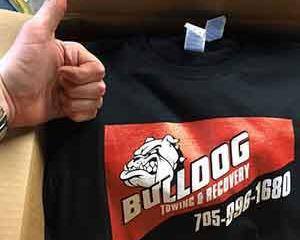 Printing T-shirts all over Canada, here's one for bulldog towing